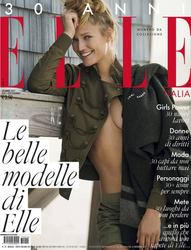 Toni Garrn featured on the Elle Italy cover from December 2017