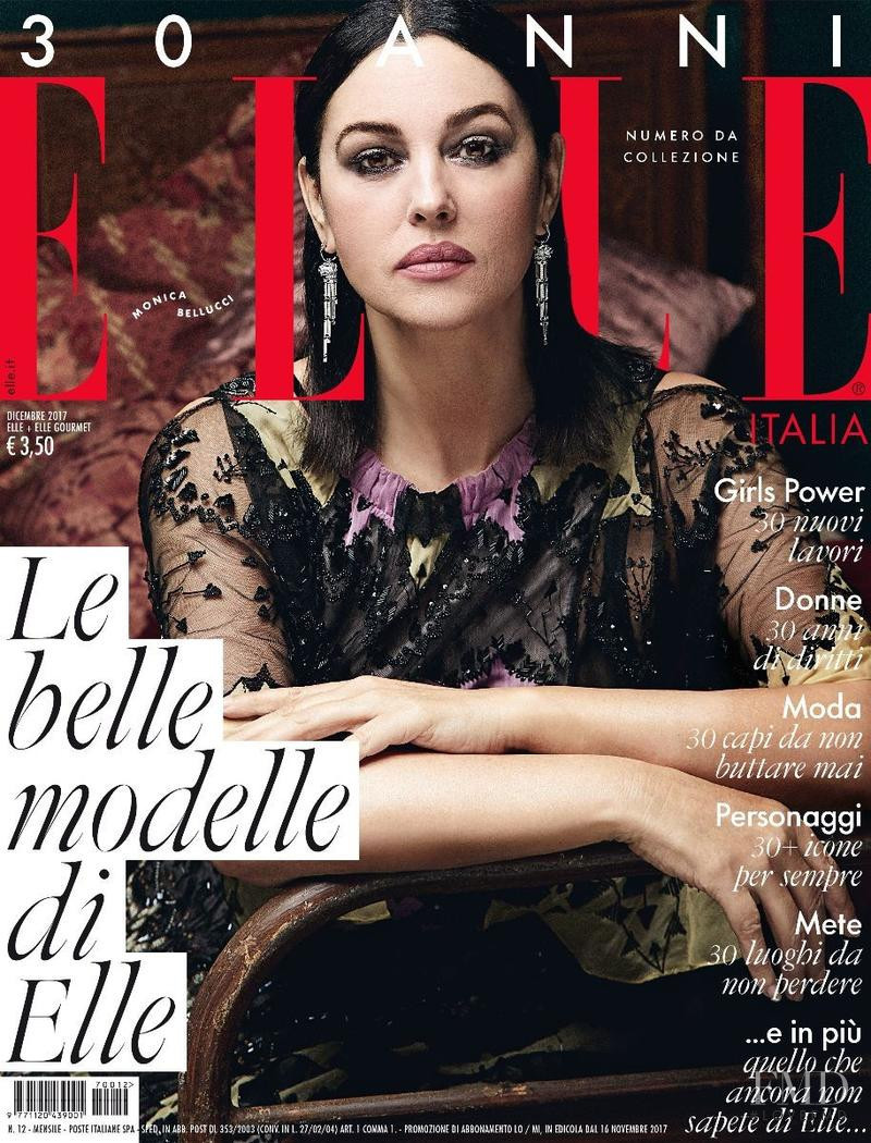 Monica Bellucci featured on the Elle Italy cover from December 2017
