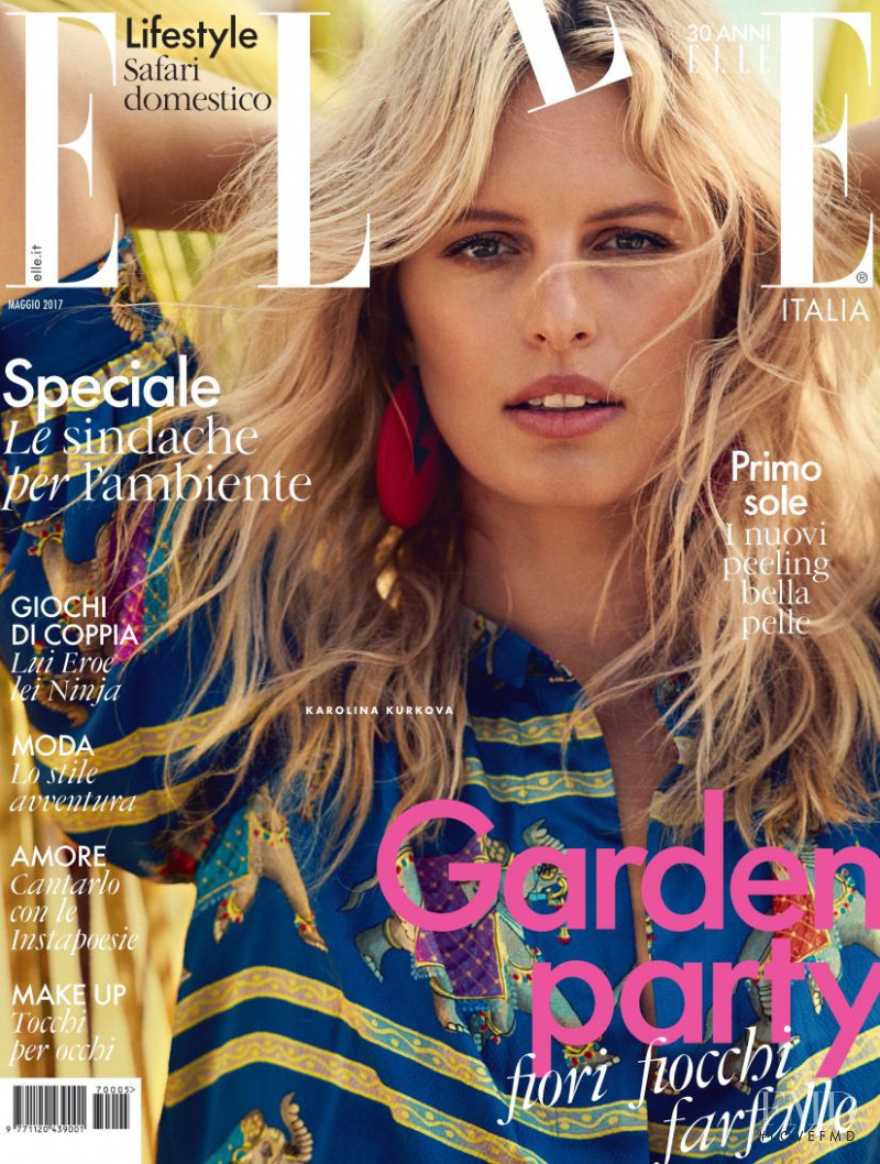Karolina Kurkova featured on the Elle Italy cover from May 2017