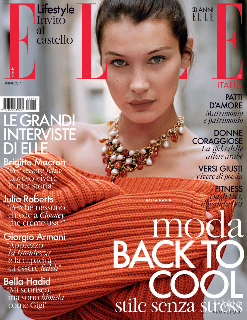 Bella Hadid featured on the Elle Italy cover from October 2017