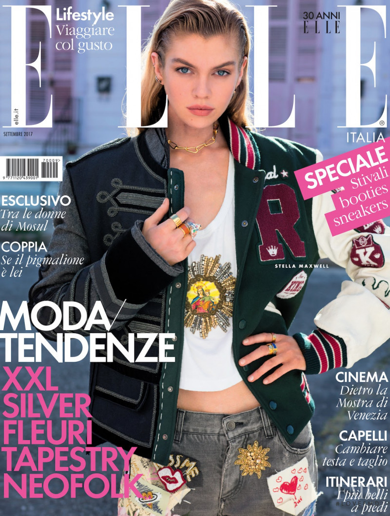 Stella Maxwell featured on the Elle Italy cover from September 2017