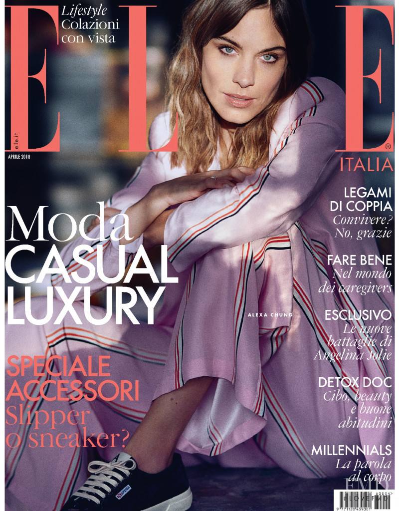 Alexa Chung featured on the Elle Italy cover from April 2018