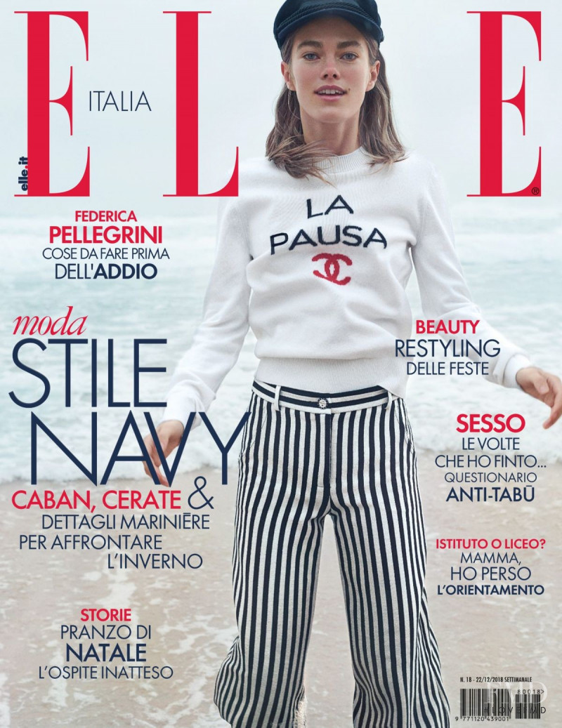 Mathilde Brandi featured on the Elle Italy cover from December 2018
