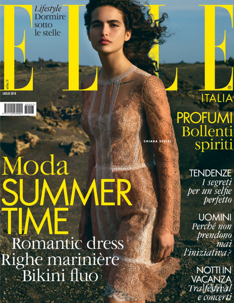 Chiara Scelsi featured on the Elle Italy cover from July 2018