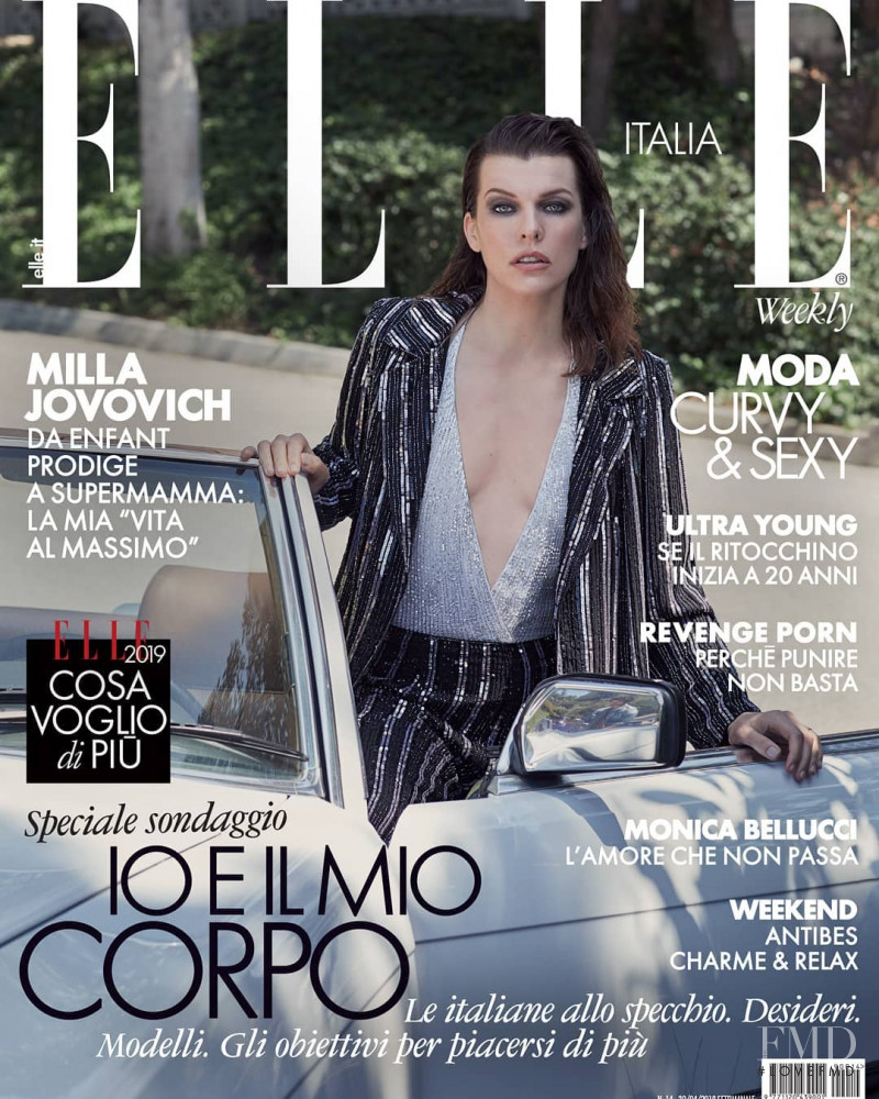 Milla Jovovich featured on the Elle Italy cover from April 2019