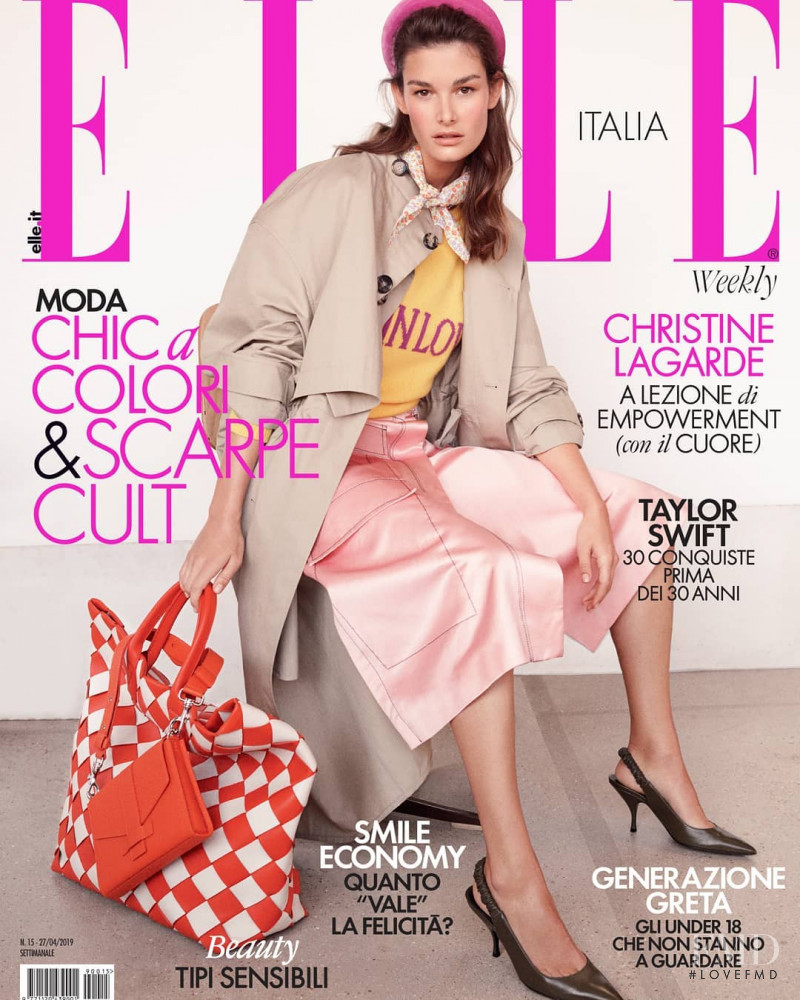 Ophélie Guillermand featured on the Elle Italy cover from April 2019