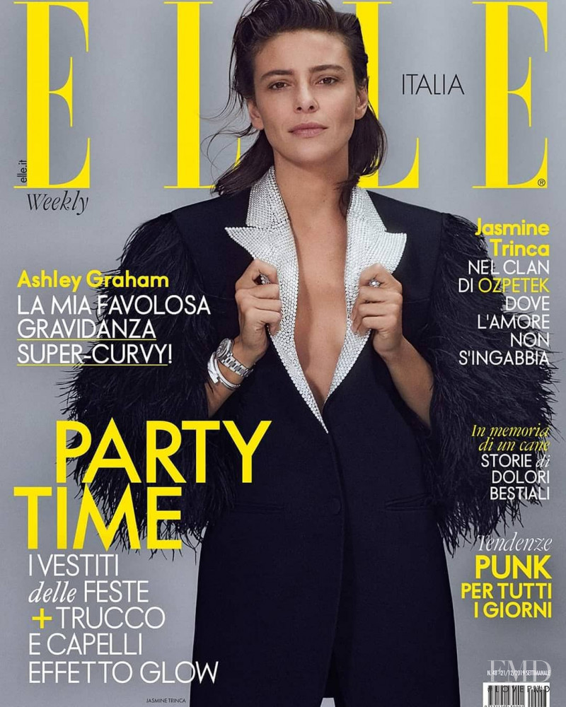 Jasmine Trinca featured on the Elle Italy cover from December 2019