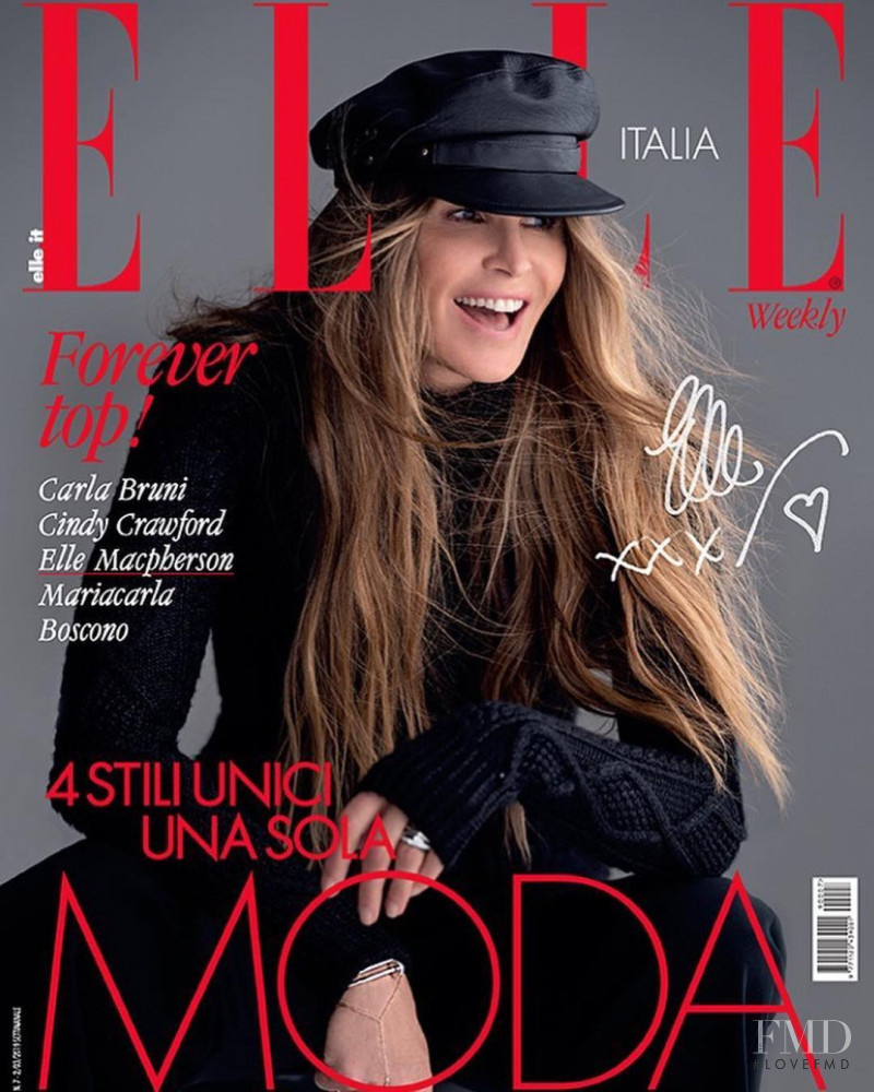Elle Macpherson featured on the Elle Italy cover from February 2019