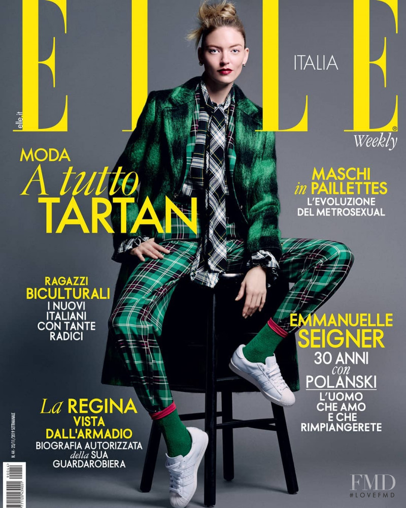 Martha Hunt featured on the Elle Italy cover from November 2019