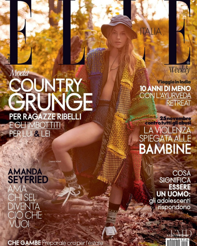 Camille Rowe featured on the Elle Italy cover from November 2019