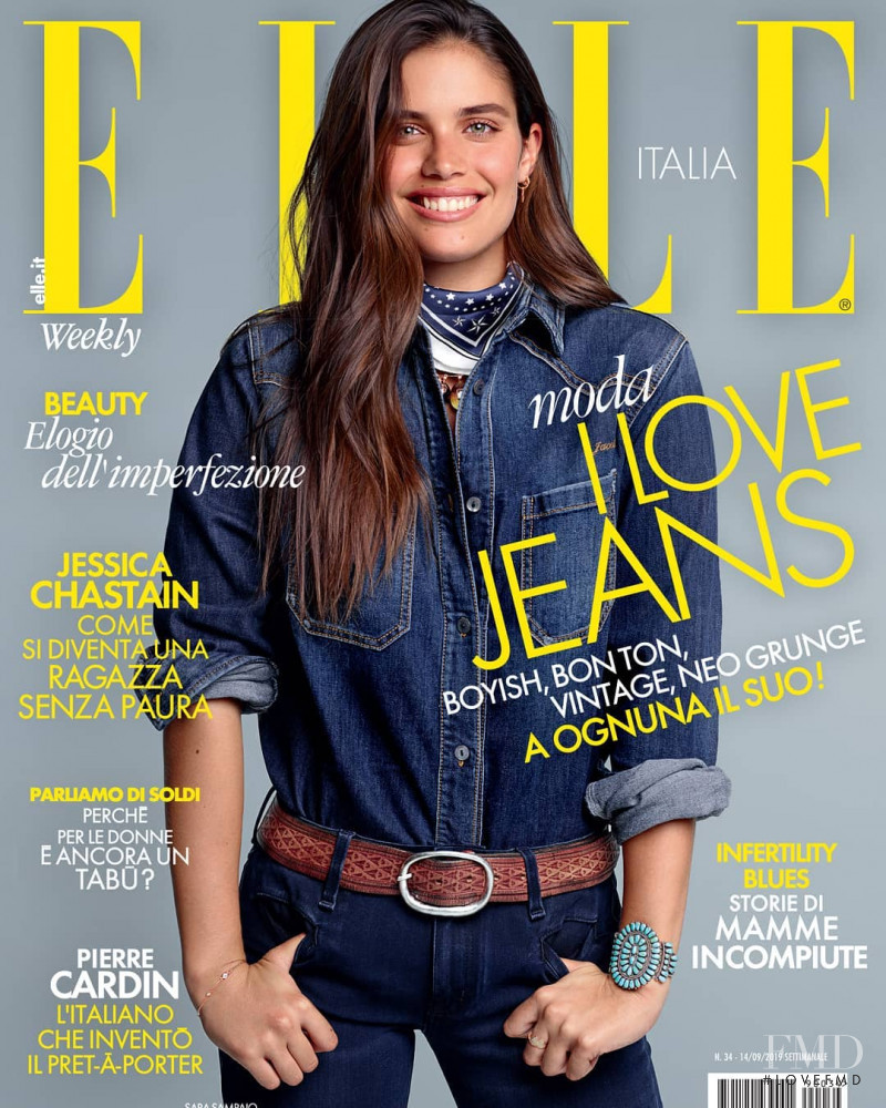 Sara Sampaio featured on the Elle Italy cover from September 2019