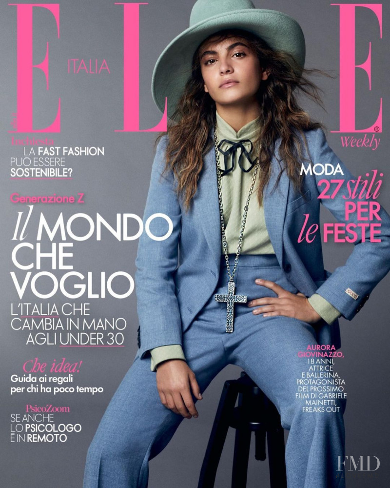 Aurora Giovinazzo featured on the Elle Italy cover from December 2020