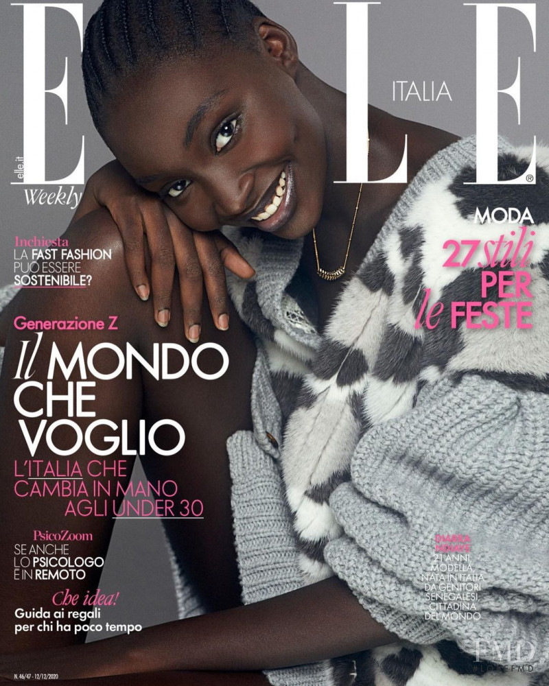 Diarra Ndiaye featured on the Elle Italy cover from December 2020