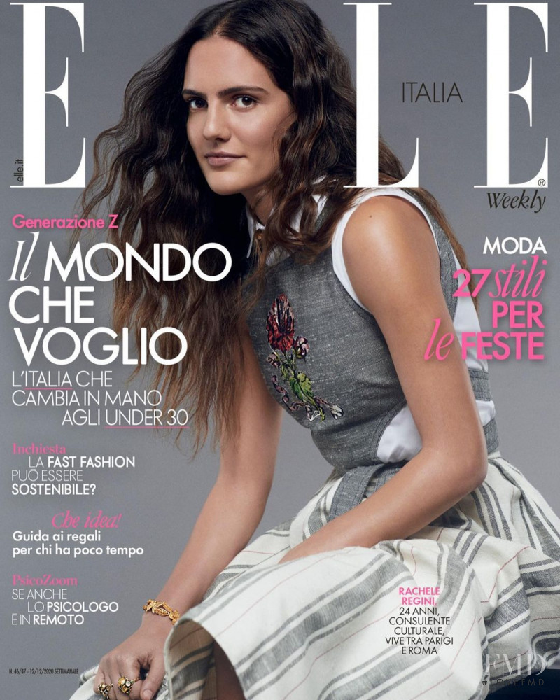 Rachele Regini featured on the Elle Italy cover from December 2020