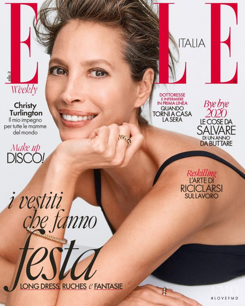 Christy Turlington featured on the Elle Italy cover from December 2020