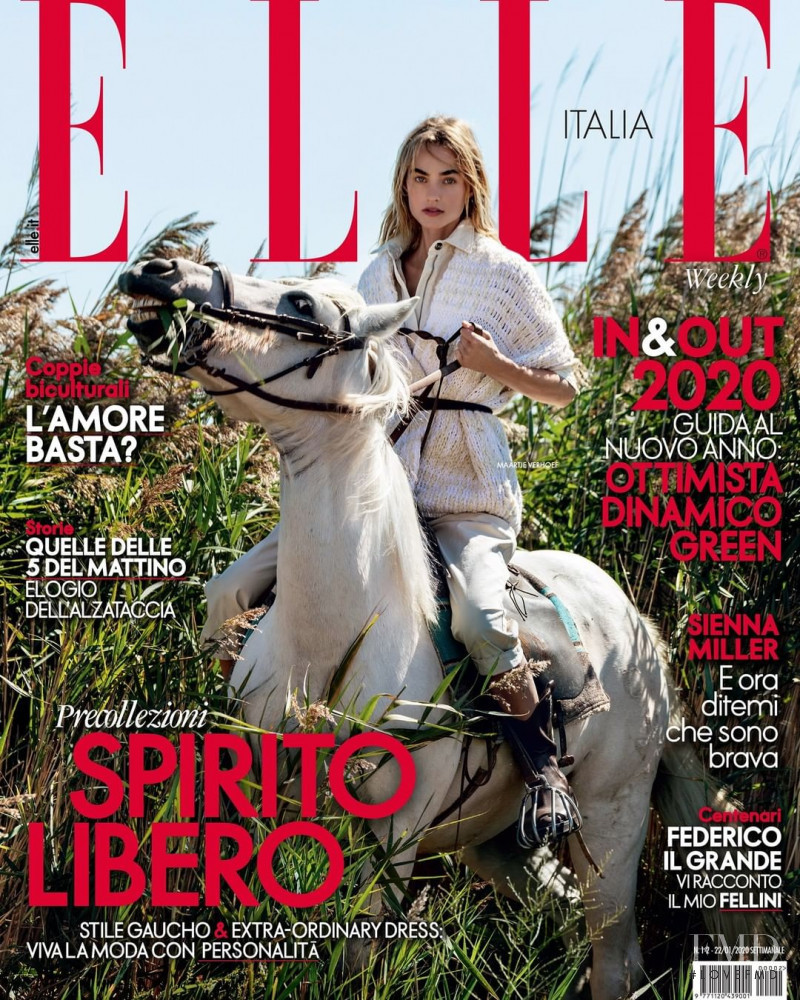 Maartje Verhoef featured on the Elle Italy cover from January 2020