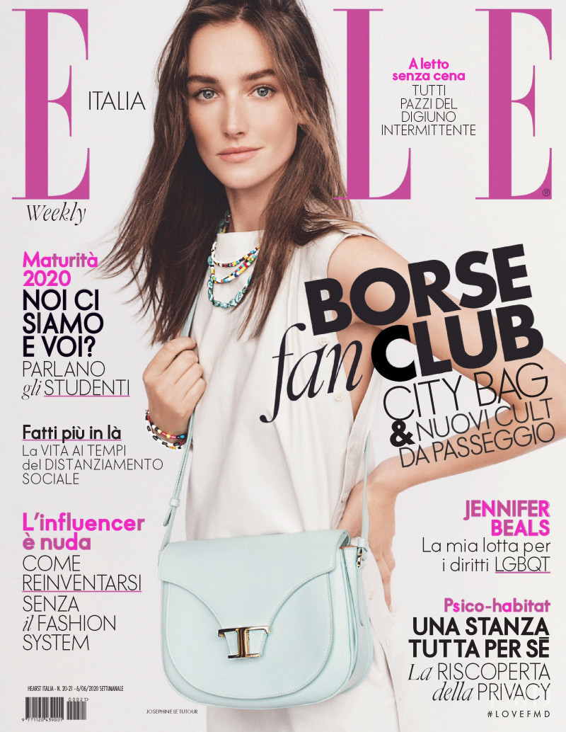 Joséphine Le Tutour featured on the Elle Italy cover from June 2020