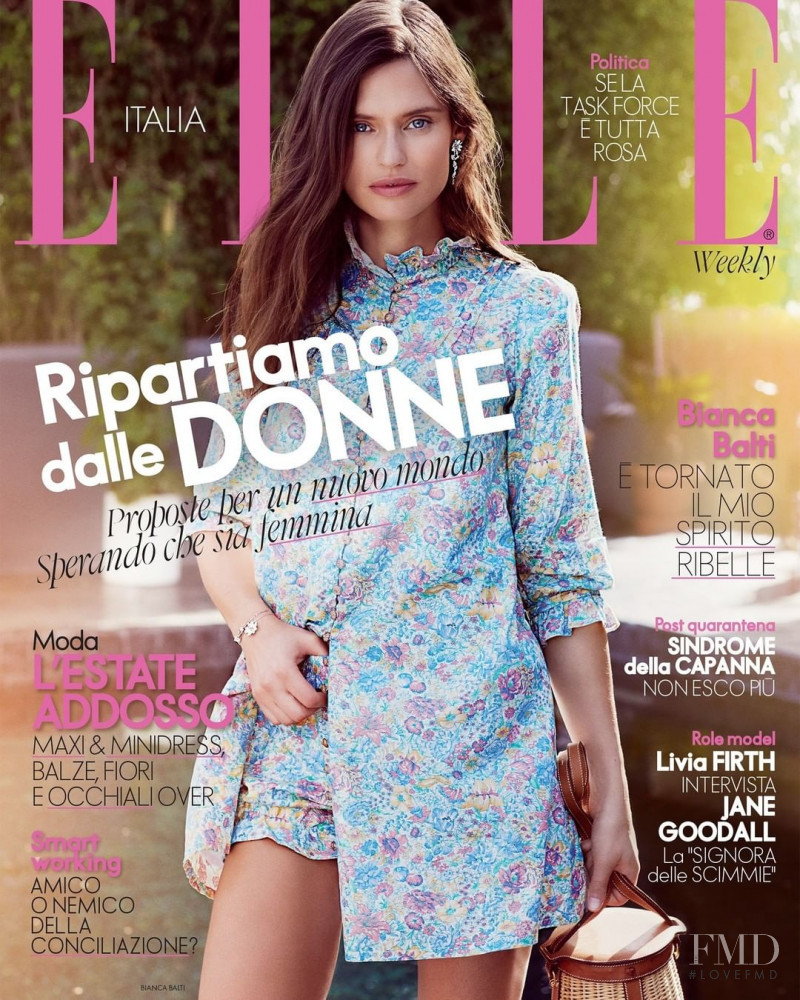 Bianca Balti featured on the Elle Italy cover from June 2020