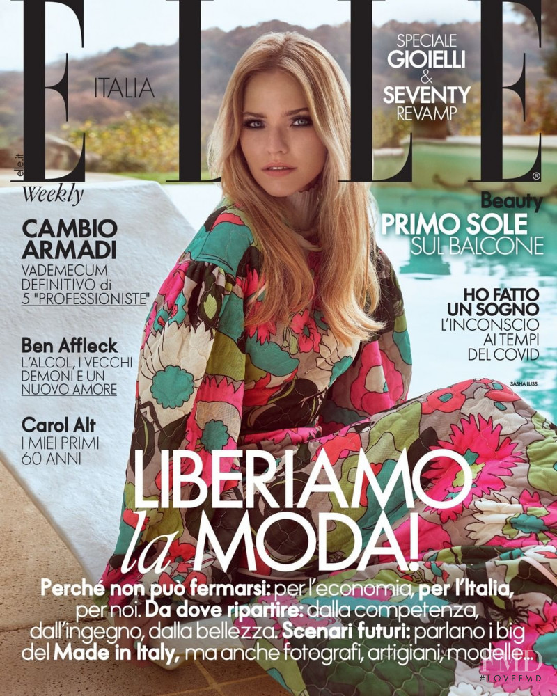 Sasha Luss featured on the Elle Italy cover from May 2020