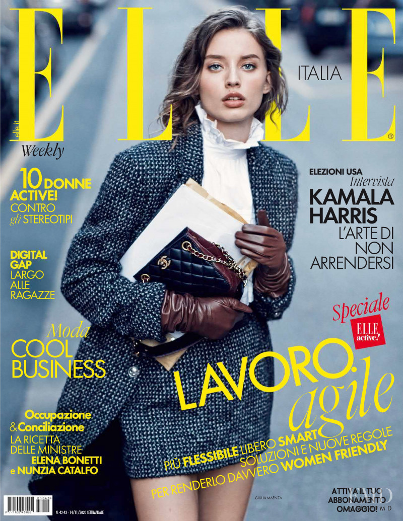 Giulia Maenza featured on the Elle Italy cover from November 2020