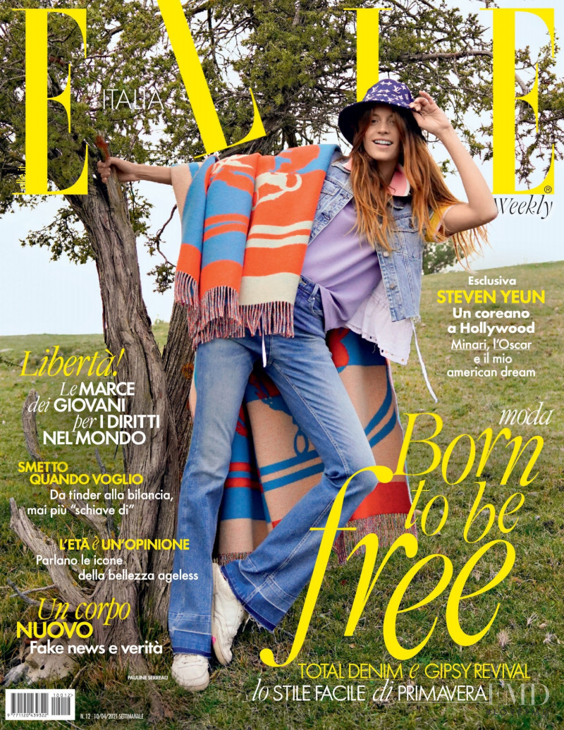 Pauline Serreau featured on the Elle Italy cover from April 2021