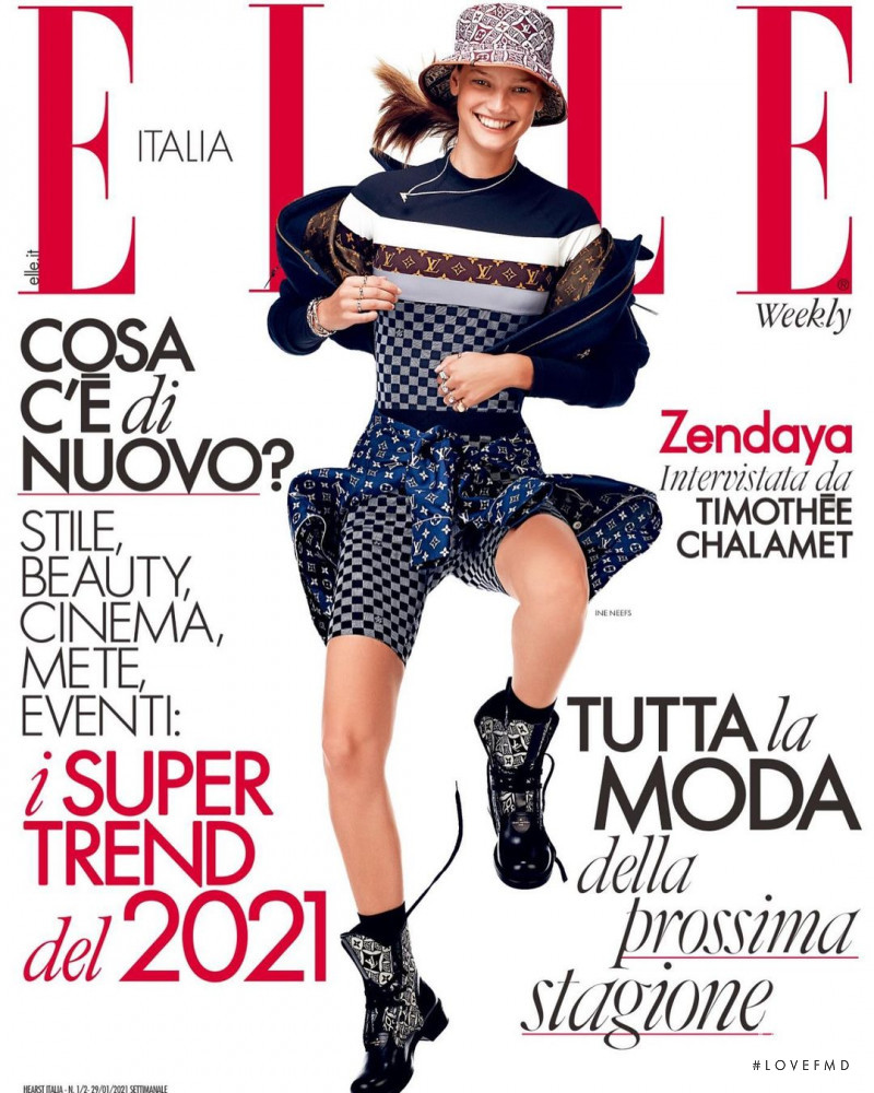 Ine Neefs featured on the Elle Italy cover from January 2021