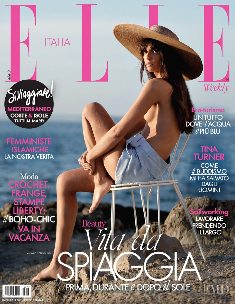 Annabelle Belmondo featured on the Elle Italy cover from July 2021