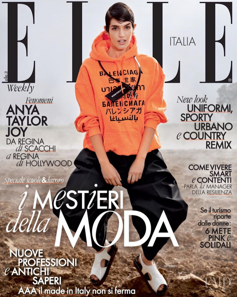 Greta Ferro featured on the Elle Italy cover from March 2021