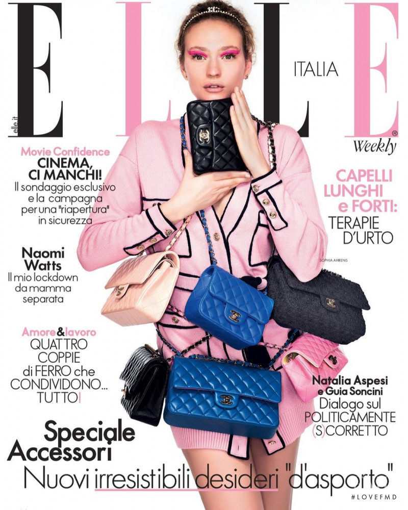 Sophia Ahrens featured on the Elle Italy cover from March 2021