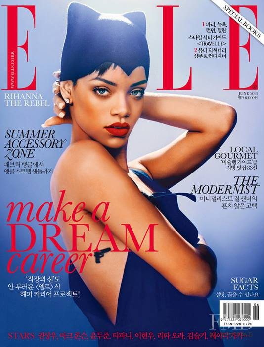 Rihanna featured on the Elle Korea cover from June 2013