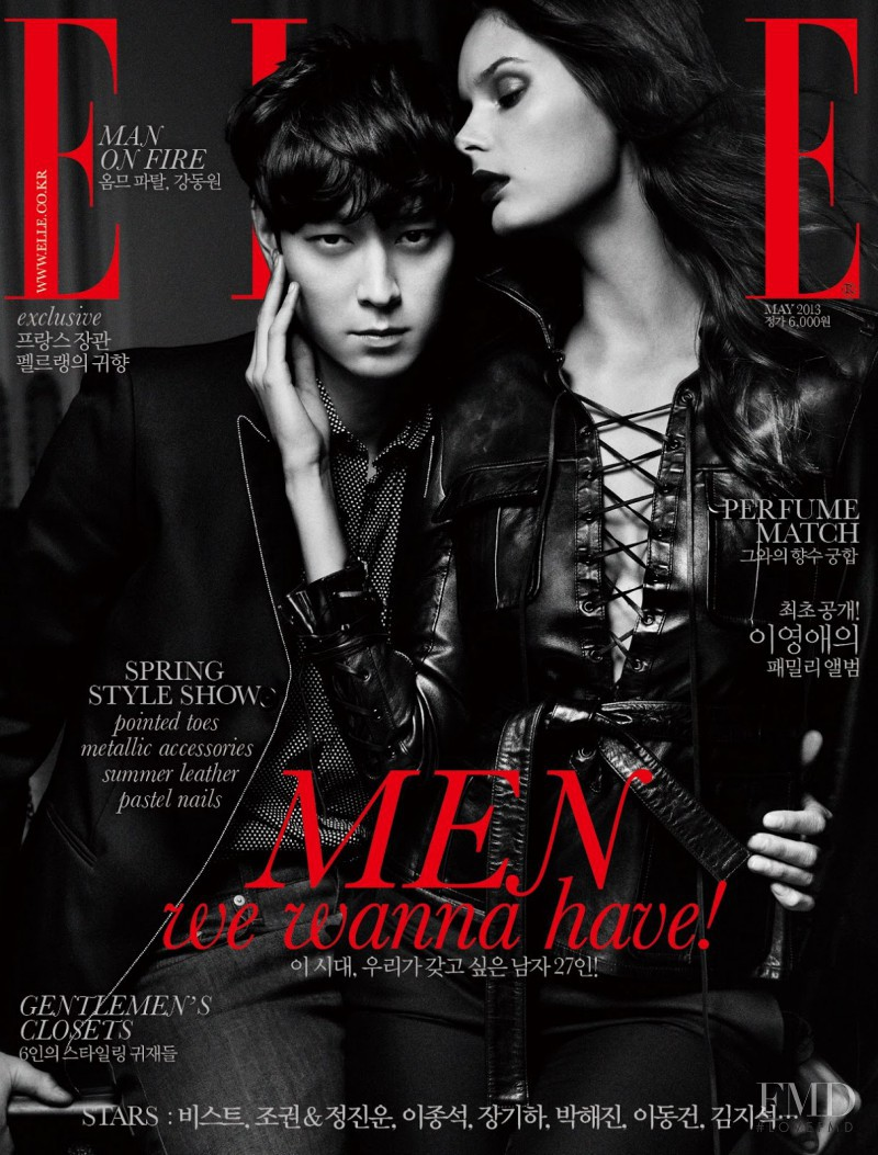 Kang Dong Won featured on the Elle Korea cover from May 2013