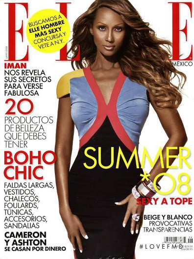 Iman Abdulmajid featured on the Elle Mexico cover from May 2004