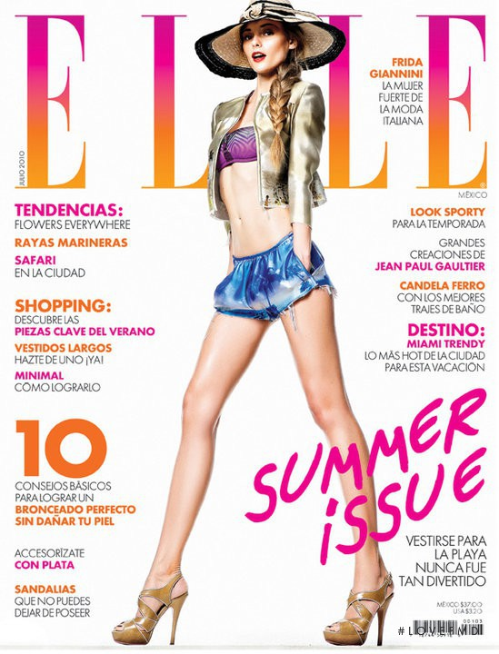 Fabiana Semprebom featured on the Elle Mexico cover from July 2010