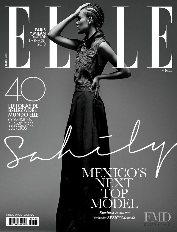 Sahily Cordova featured on the Elle Mexico cover from January 2013