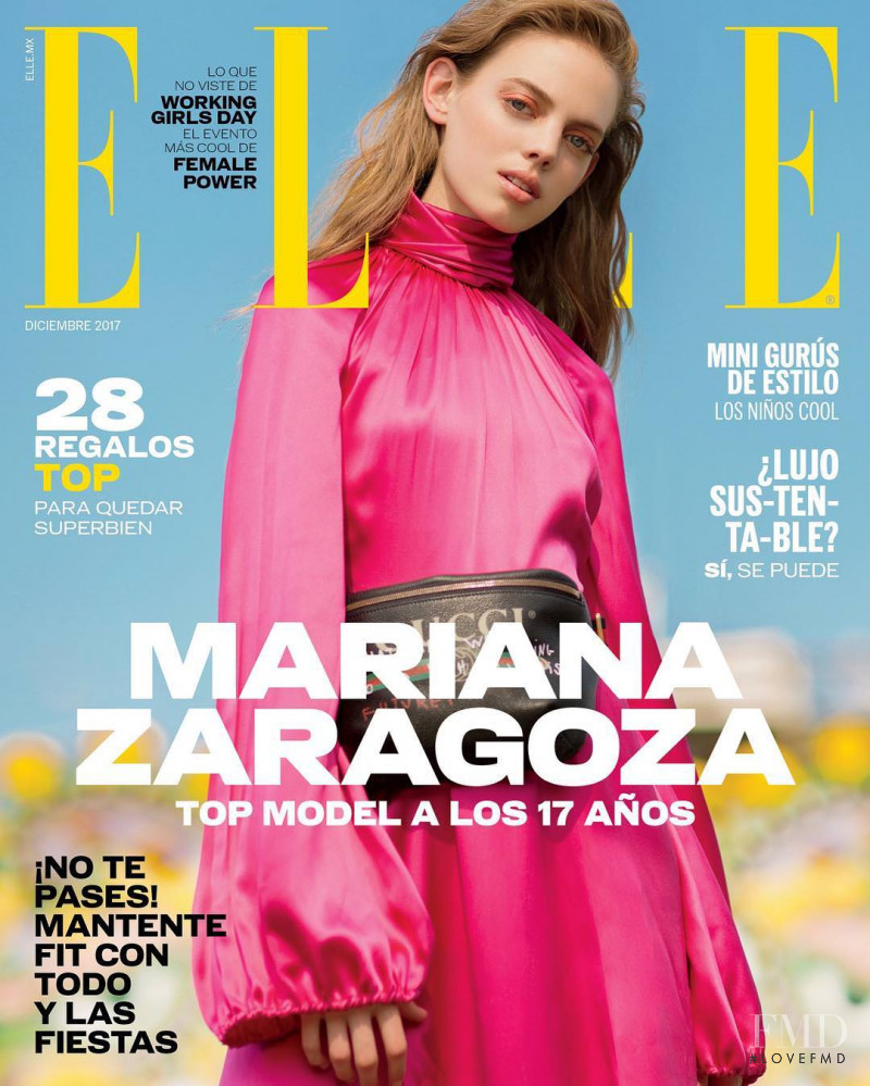 Mariana Zaragoza featured on the Elle Mexico cover from December 2017