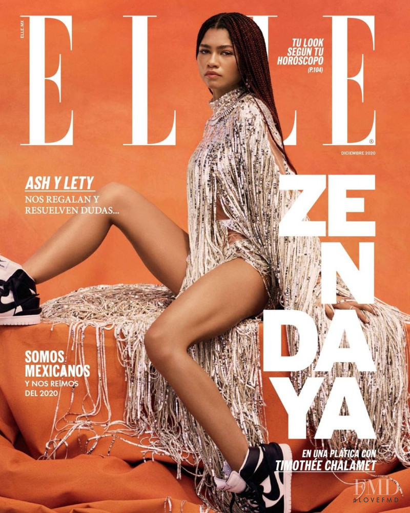 Zendaya featured on the Elle Mexico cover from December 2020
