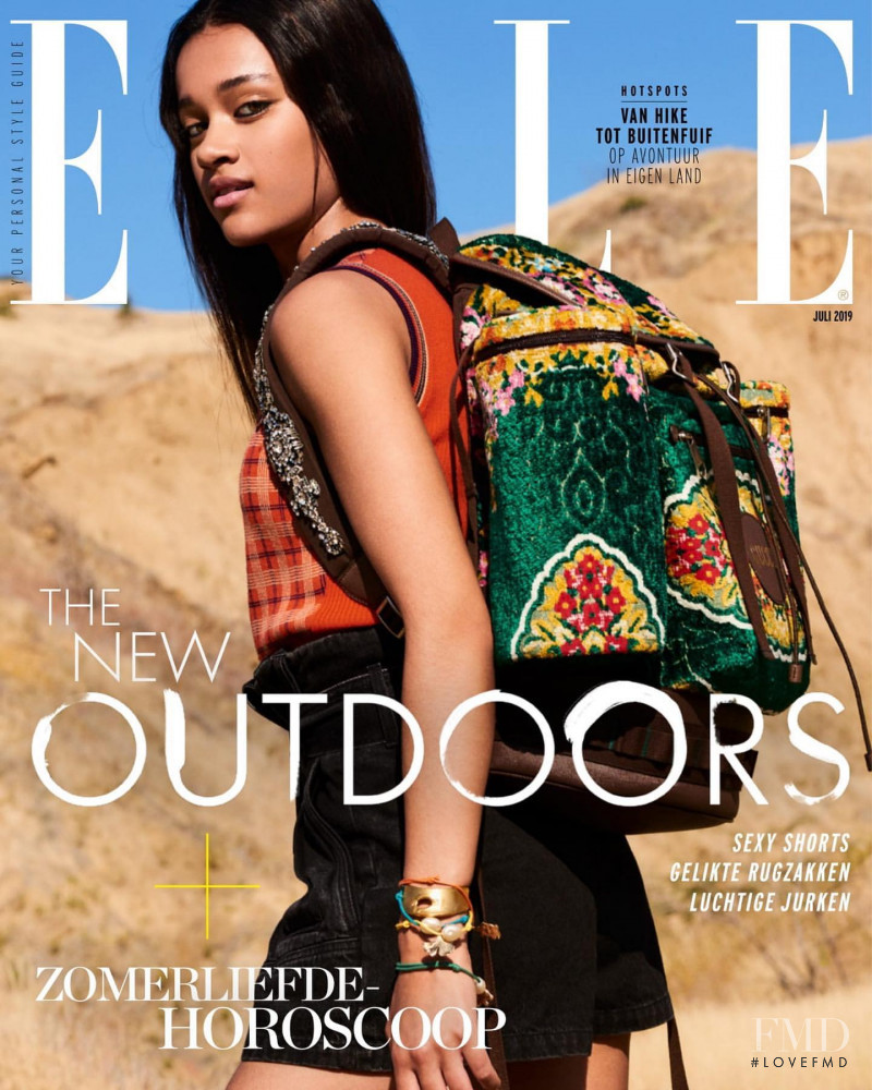 Mara Kasanpawiro featured on the Elle Netherlands cover from July 2019
