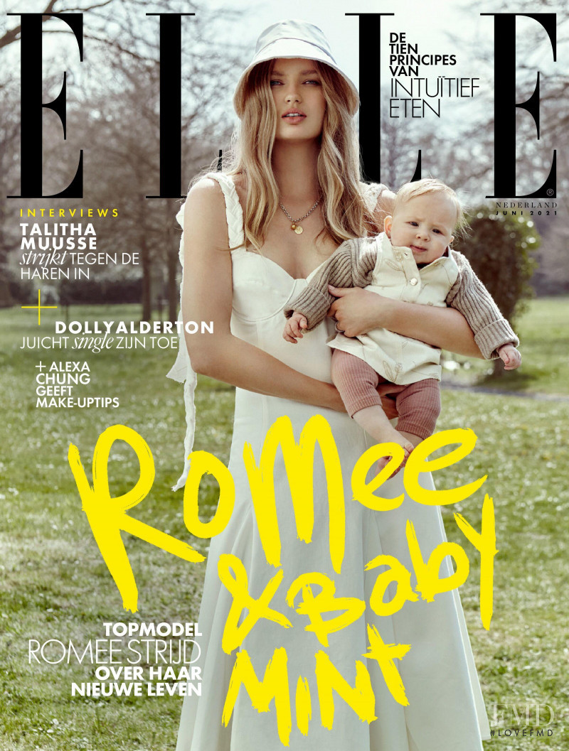 Romee Strijd featured on the Elle Netherlands cover from June 2021
