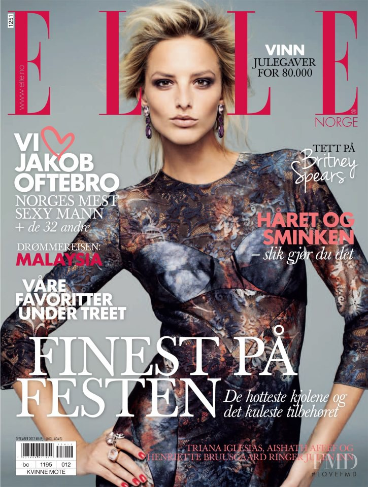 Michaela Kocianova featured on the Elle Norway cover from December 2012