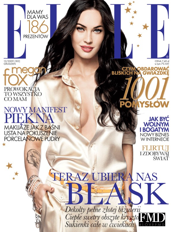 Megan Fox featured on the Elle Poland cover from December 2009