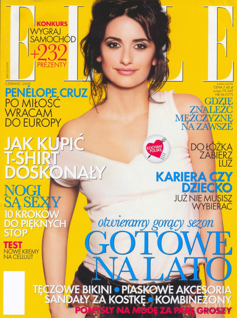 Penélope Cruz featured on the Elle Poland cover from July 2009