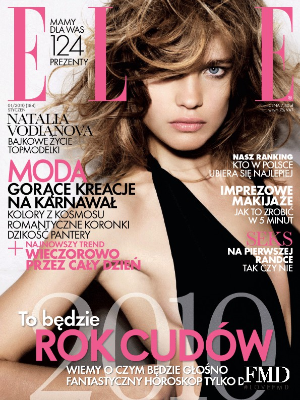 Natalia Vodianova featured on the Elle Poland cover from January 2010