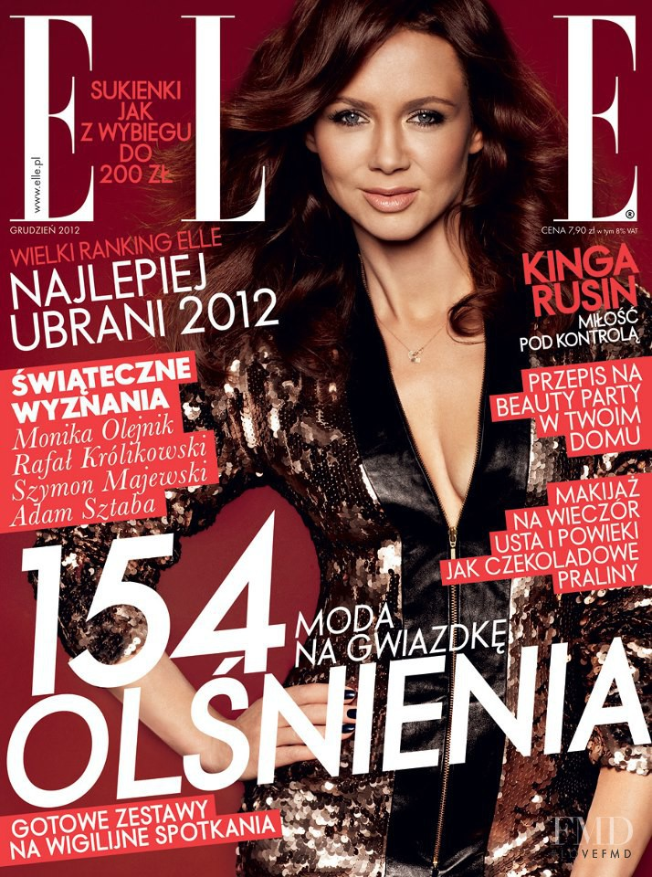 Kinga Rusin featured on the Elle Poland cover from December 2012