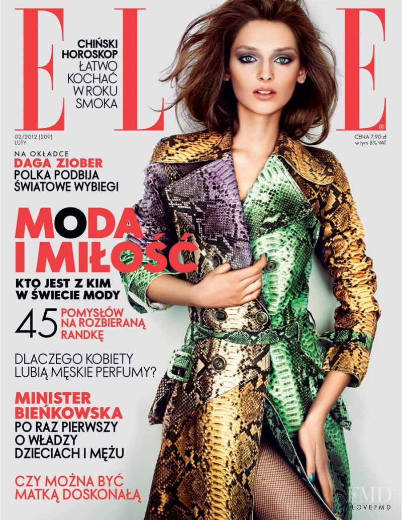 Daga Ziober featured on the Elle Poland cover from February 2012