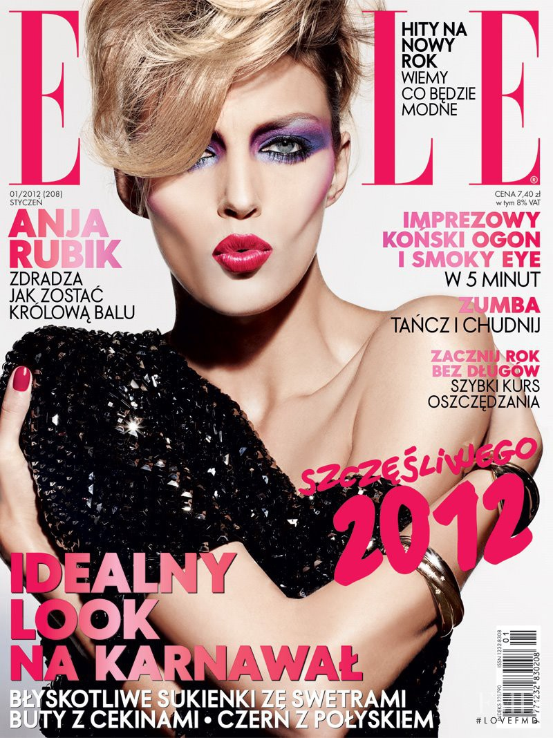 Anja Rubik featured on the Elle Poland cover from January 2012