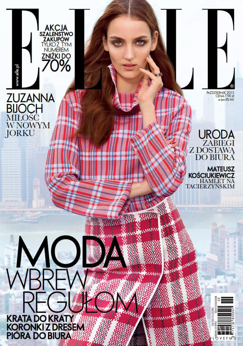 Zuzanna Bijoch featured on the Elle Poland cover from October 2013