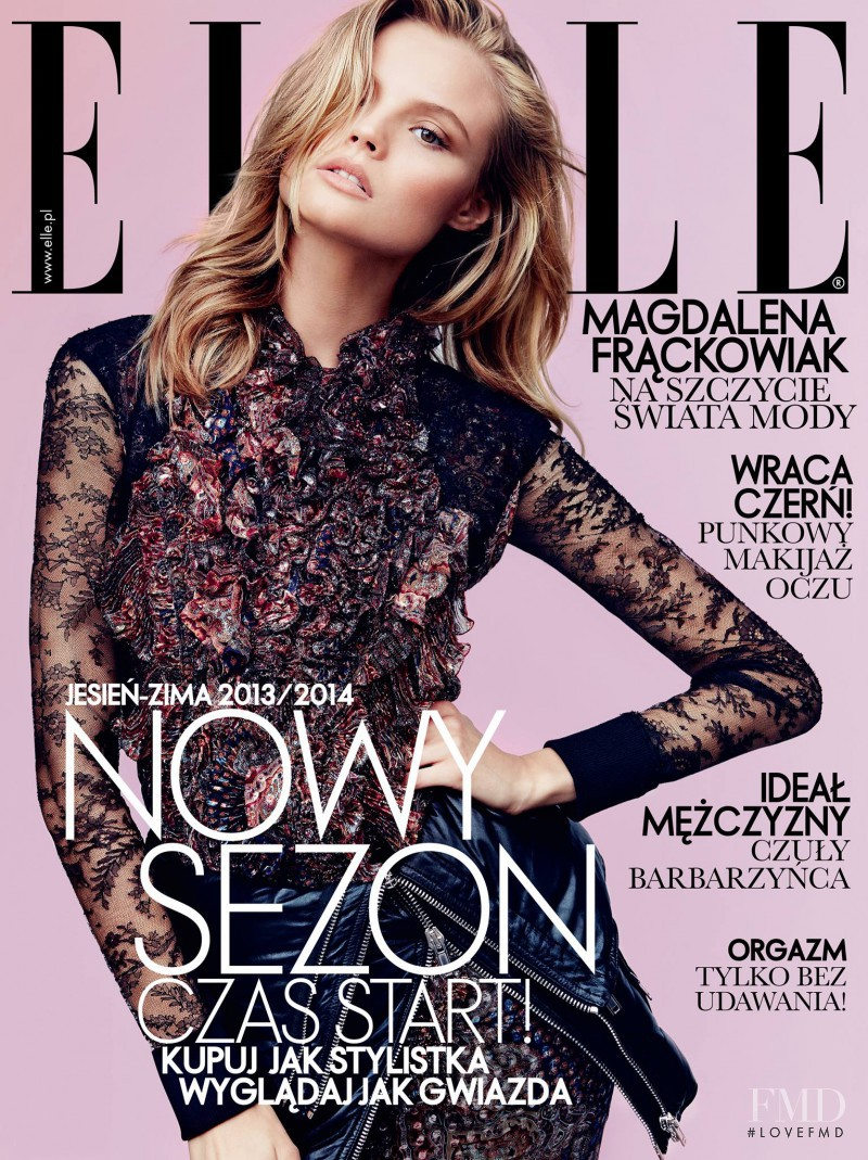 Magdalena Frackowiak featured on the Elle Poland cover from September 2013