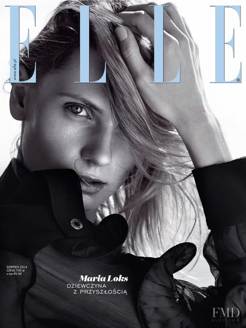 Maria Loks featured on the Elle Poland cover from August 2014