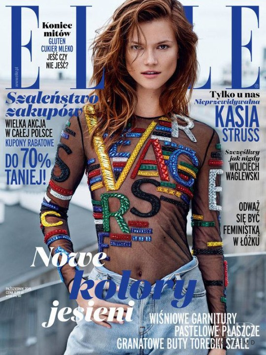 Kasia Struss featured on the Elle Poland cover from October 2015