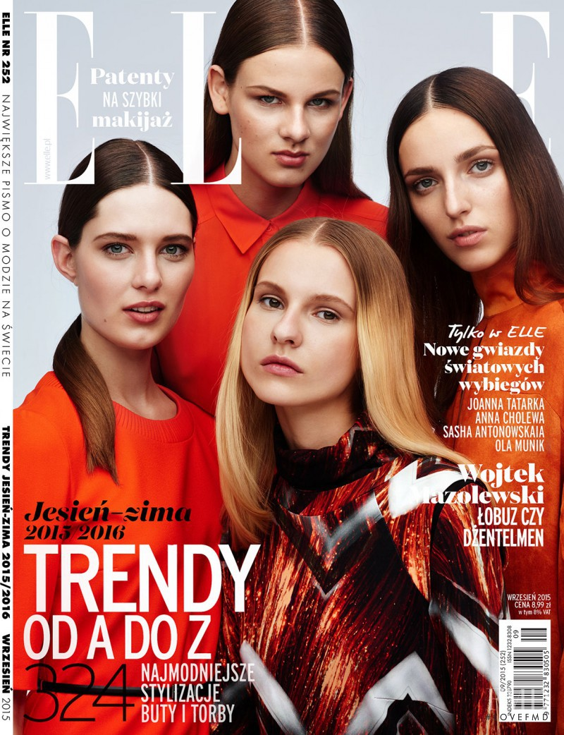 Sasha Antonowskaia, Ola Munik featured on the Elle Poland cover from September 2015